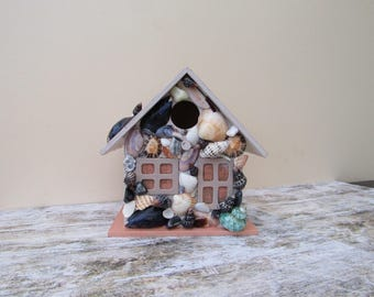 Beautiful handmade SHELL MOSAIC Birdhouse / bird box