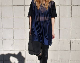 mesh t-shirt color blocked black + blue sheer mesh over sized t shirt dress