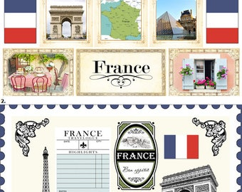Travel Stickers - France Sightseeing Images & Icons - Paris - Provence - Eiffel Tower - 30 Color Assorted - Die cuts and Cut outs