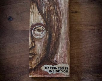 Artistic paint, about John Lennon on recycled wood, mix technic