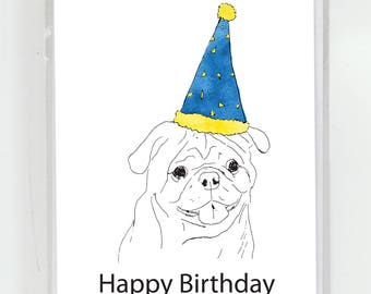 Pug Dog Birthday Greeting Card
