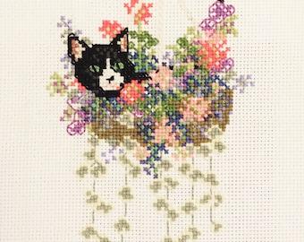 Tuxedo Cat in a Flower Basket Kitten Embroidery Cross Stitch Needlepoint
