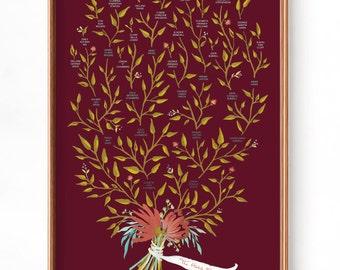 Custom Family Tree - Maroon- 3, 4 or 5 Generations, Gouache Fine Art Print