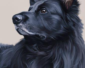 Custom pet potrait Giclée print (digital painting)