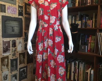 Vintage 1990's red floral dress, sz Medium