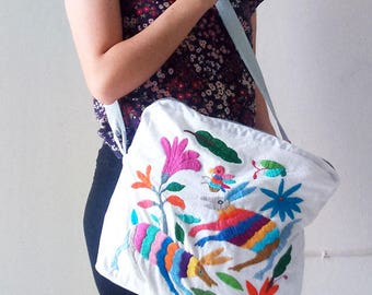 Tenango embroidered handmade shoulder bag
