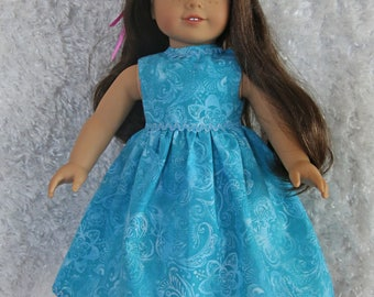 Turquoise Elegant Dress with Butterfly Slippers fits American Girl Dolls