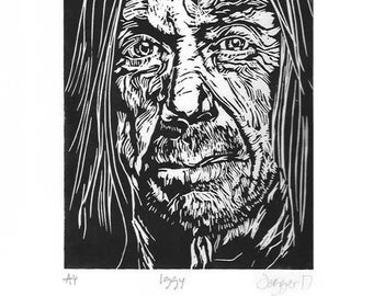 Iggy Pop Lino Cut print