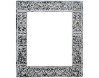 Ethnic frame for mirror Persia, carved mirror, berber mirror, arabic mirror, custom mirror frame, rustic mirror frame, unique wall mirror