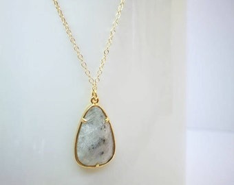 Labradorite Pear Shaped Pendant with 14K Gold Filled Chain Necklace