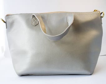Leather Cross-body Tote Bag in Silver