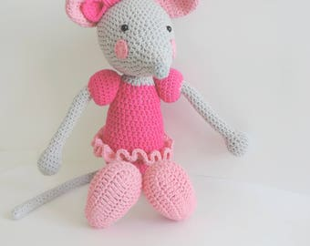 Mouse plush ballerina pink handmade cotton crochet