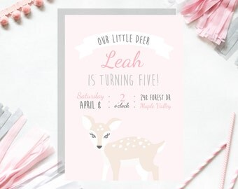 Our Little Deer Customizable Party Invitation Pink