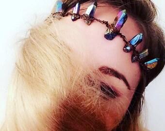 Rainbow Aura Quartz Crown