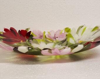 Art glass  flowers bowl