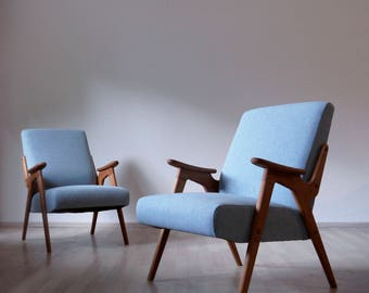Vintage Mid Century Armchair made in 1950s Restored to original shape