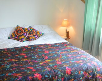 Tropical Birds Quilted Bed Throw in Black with Multicoloured Pattern