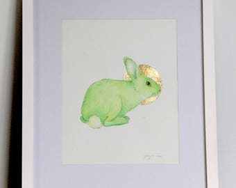 Alba - green rabbit painting