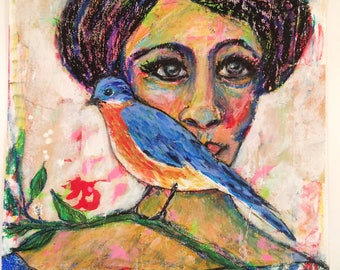 Bird with Woman is a mixed media portrait painting