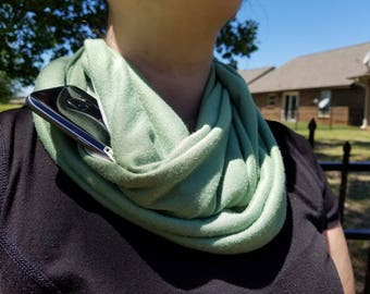Infinity Scarf with Zippered Pocket