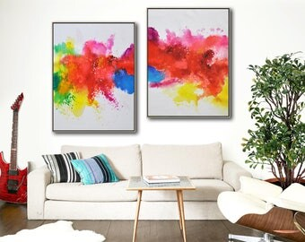 Set of 2 Original abstract painting on canvas, large vertical contemporary art, hand painted. FREE shipping. By Ethan Hill Art No.P4