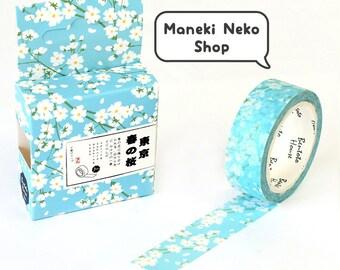 Blue & White Sakura Flower Washi Tape - Japanese, Japan, Paper Tape, Plant, Pretty, Planner, Bullet Journal