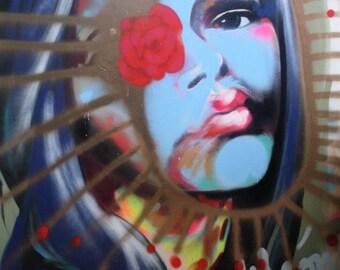 Sarai, spray paint art, original artwork