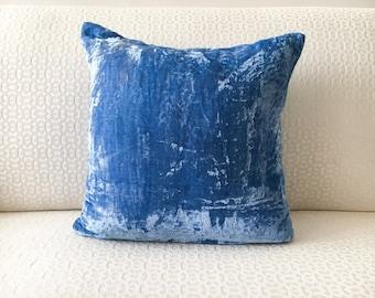Blue Velvet Pillow cover 16x26 18x18 20x20 decorative throw pillow, Blue Silk Velvet Pillow cover pillowcase