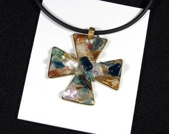 "Pendant ""cross Malta"" lapis lazuli, citrine and bronze"