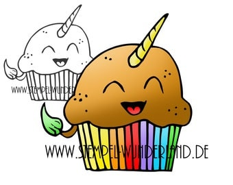 Digi stamp Unicorn muffin cupcake of digital stamp + coloured printable