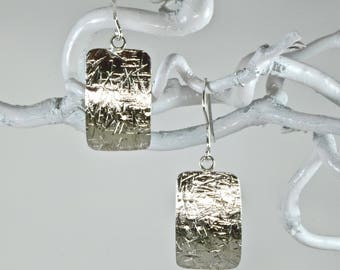 Sterling silver hammer textured earrings