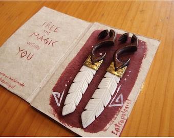 Tribal Earrings Feather Bone