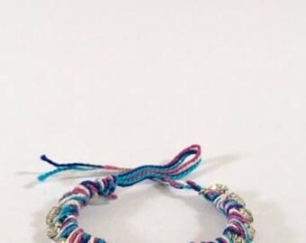 Multicolored Woven Rhinestone Friendship Bracelet