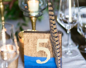 Handpainted Table Numbers with Gold Embossed Details