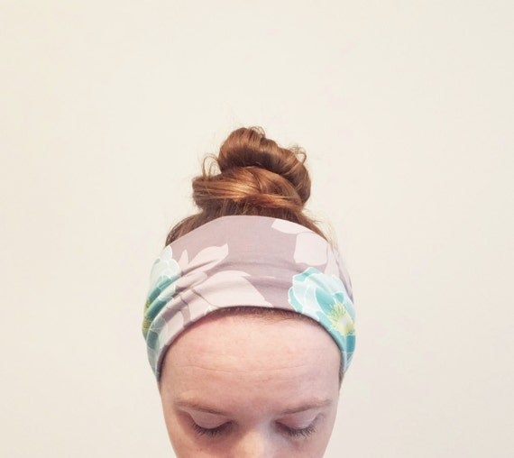 Aqua Rose Print Headband taupe green floral Yoga boho Cotton women's hair accessory headwrap workout headband jogging accessory gift for her