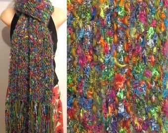 Hand Knit Gypsy Scarf Pinata blue green pink yellow orange purple boho