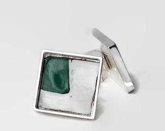 Green Corner Ring Square Silver Vintage License Plate Cream Green Adjustable