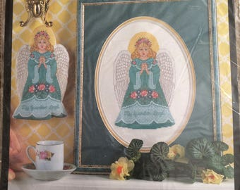Vintage Bucilla Counted Cross Stitch Kit 41122-Guardian Angel-Picture or Ornament-1995-OOP, New and Sealed