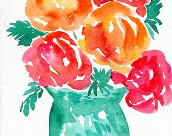 Flowers watercolor painting original, colorful art,  watercolor painting of flowers, floral art, small flowers