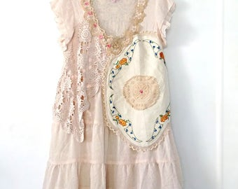 Shabby Chiffon Dress, Hand Stitched, Vintage Linens, Embroidered, Cream, Rustic, Boho, Short Dress, Pink Flowers, Upcycled