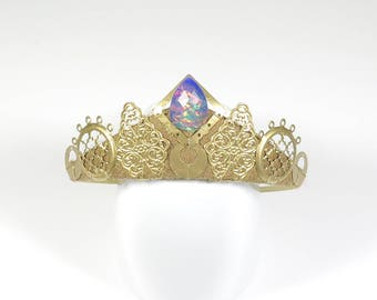 Faux Blue Fire Opal and Gold Filigree Tiara - by Loschy Designs