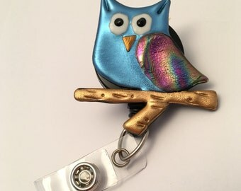 Owl ID badge holder retractable reel and alligator clip