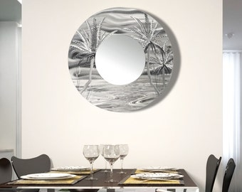 Silver Tropical Abstract Circle Wall Mirror, Hanging Palm Tree Metal Mirror Accent, Large Round Wall Mirror Decor - Mirror 106 by Jon Allen