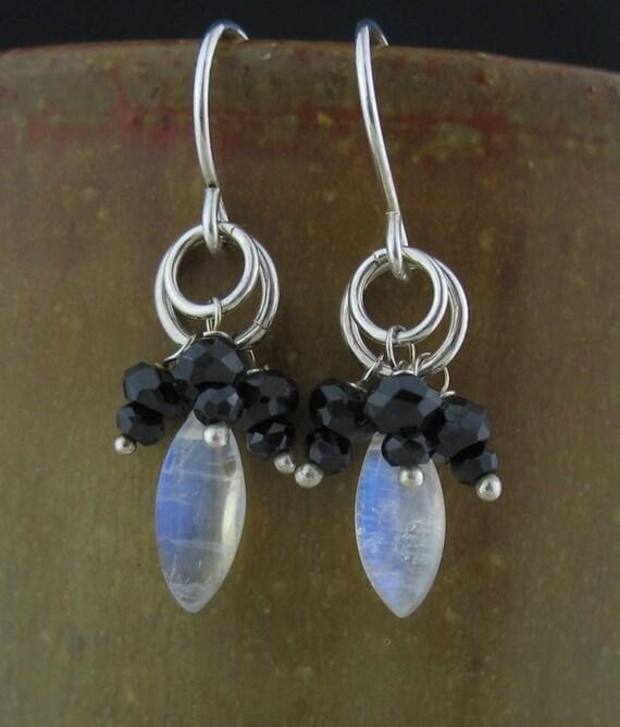 Black Stone Earrings: White Black Stone Cluster Earrings Rainbow Moonstone