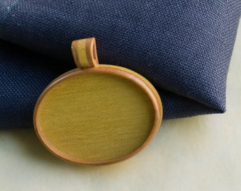 Pendant tray setting fine finished NO laser - Cherry and yellow heart - Organic bail - 30 x 40 mm - (A2-CY)