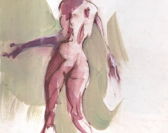 Original 14x11 Figure Sketch Female Painting Drawing OOAK