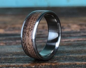 Titanium Ring, Wedding Ring, Wood Ring, Black Walnut Ring, Wood Inlay Ring, Mens Wedding Ring, Womens Ring, Promise Ring, Anniversay Ring