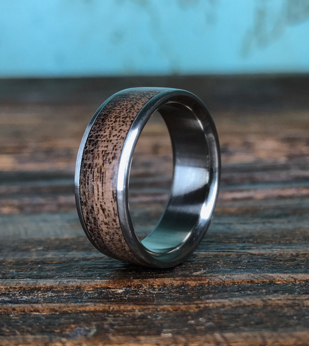 titanium ring wedding ring wood ring black walnut ring