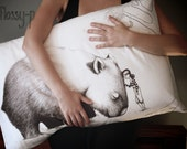 SECOND: Wombat pillowcase with girl, facing right. Illustrated pillowslip. Australian gift with original art by flossy-p