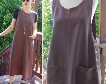 GRAY AREA 1980's 90's Vintage Grey Brown Minimalist Tencel Rayon Jumper Dress w/ Side Buttons // size Medium // by AKS Amy K Su